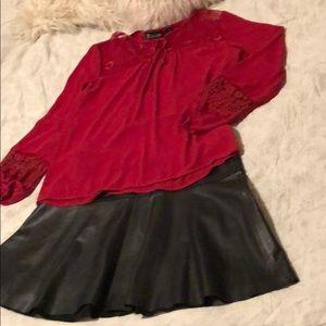 Banana Republic black leather flared skirt Sz 12